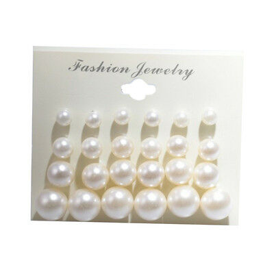 12 Pairs Women Stylish Faux Pearl Round Ear Stud Earring Set Wedding Party Pip