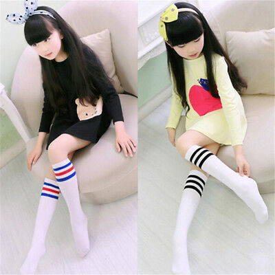 Kids Knee High Socks Girls Boys Football Stripes Cotton Sports School Skate Pip