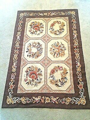 Beautiful Amtique Hand Made Aubusson French Needlepoint Rug 6' X 4'