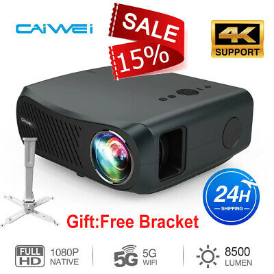 Portable HD Smart Android WiFi Projector Bluetooth Home Cinema Backyard HDMI USB