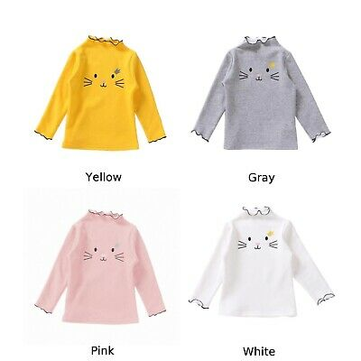 UK Casual Kids Baby Girls Clothes Wave Collar Long-Sleeve Bottoming T-shirt Tops