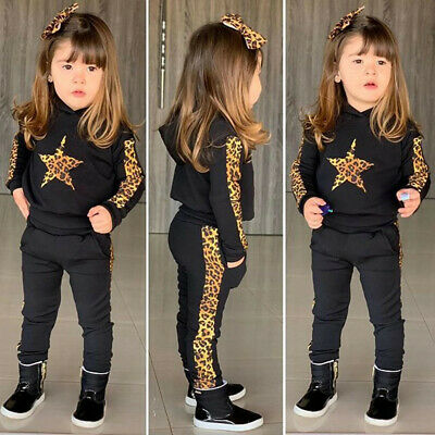Toddler Kids Girls Leopard Star Sports Hooded Pullover Sweatshirt Trousers Suit