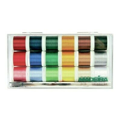 Madeira Rayon Machine Embroidery Thread No. 40 Gift Box of 18 Colours