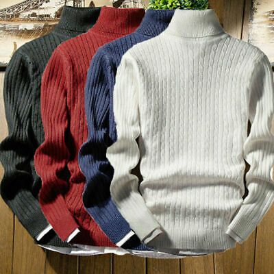 Mens Winter Knitted High Roll Turtle Neck Pullover Jumper Woolen Sweater Tops
