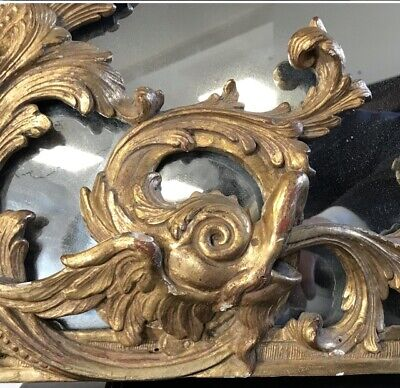 18th Century Carved Giltwood Overmantel Chippendale Mirror Provenance