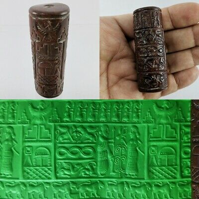 Ancient Sassanian Red​ Jasper Bead King God Round Cylinder Seal Intaglio #247
