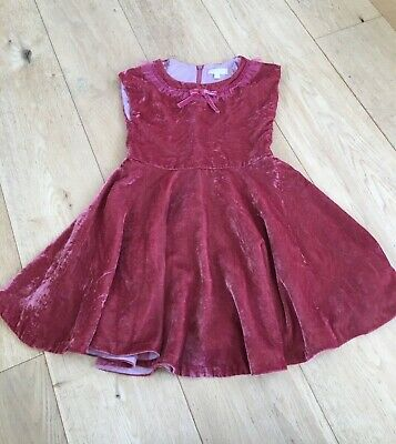mini Boden girls vintage effect crushed velvet red/pink party dress age 6 to 7