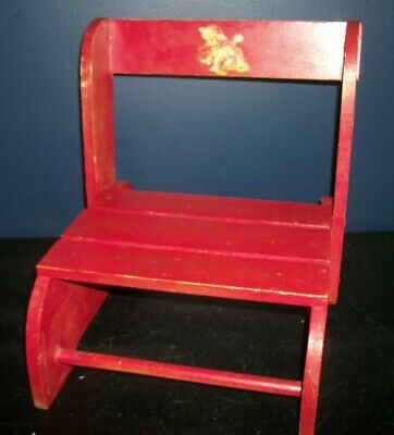 Vintage Folding Seat Step Stool Cute Red Wood Kids Chair