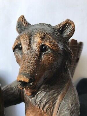 Large Antique Black Forest Hand Carved Wooden Bear - What A Beauty
