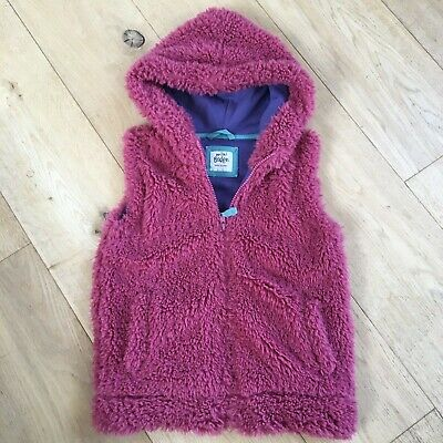 mini Boden girls pink/red teddy fur gilet with soft purple jersey lining, 6 to 7
