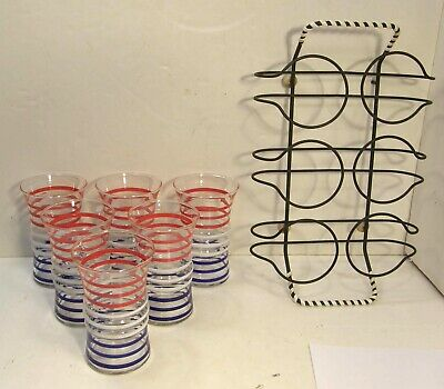 VINTAGE MID CENTURY SET PATRIOTIC STRIPED DRINKING GLASSES TUMBLERS w/WIRE CADDY