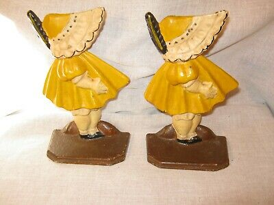 Pair Of Old Cast Iron Bonnet Sue Bookends Nice Original Paint Great Condition