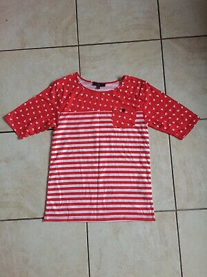 Yd Primark Girls Red/white Loveheart Striped Top Age 12-13 Years New Without Tag