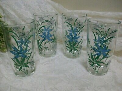 "Set of 4 Vintage Anchor Hocking Blue Floral 4.75"" Drinking Glasses Tumblers EXC"