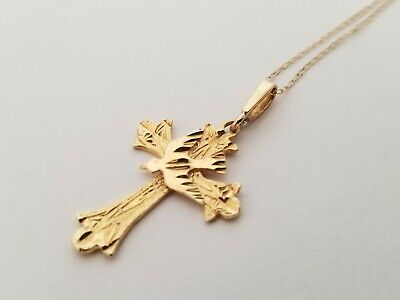 14K Yellow Gold Cross with Dove Design Pendant Necklace  - 2 Grams