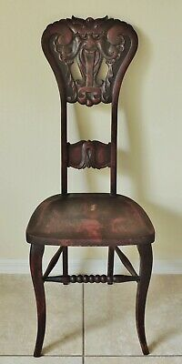 Antique/Vtg North Wind Solid Mahogany Carved Figural FACE Side Accent Desk Chair