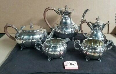 Victorian Plate EPBM Tea Coffee Water Pot Creamer Sugar Bowl Set #316 Silver