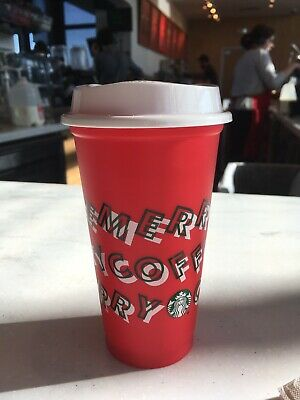 Starbucks Merry Coffee Cup Holiday Christmas 2019 Red Reusable Hot 16oz Plastic