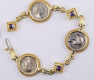 Ancient Roman Three Coin  Silver Denarius Bracelet in Solid 14kt Gold