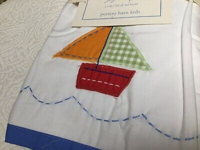POTTERY BARN KIDS Baby Boats Sailboats Nautical  Crib Skirt NIP 2A