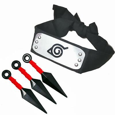 Naruto Costume Leaf Village Shinobi Headband with Ninja Props Kunai Plastic Toy