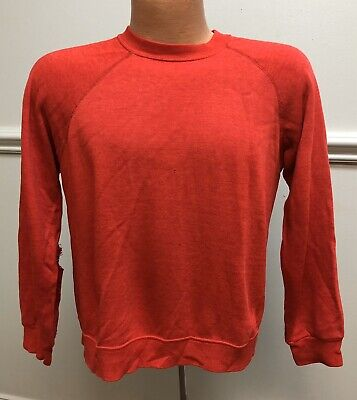 Vintage 1980s Super Distressed Red Sweatshirt Pullover Holes Youth L/Adult S 80s