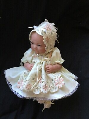 "Reborn Doll Dress Set. Cream/ Embroidery. 15-16""."