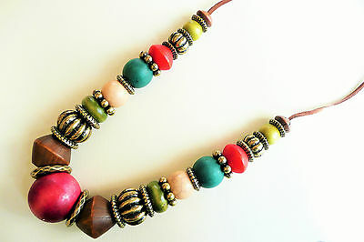 Long Necklace_Very Large Beautiful Colour Wooden Beads_Gold & Silver Bead Detail