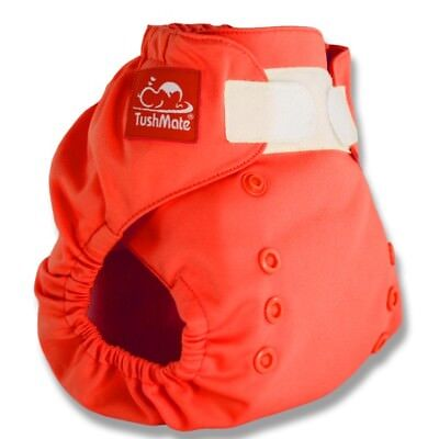 TushMate Reusable Hook and Loop Cloth Diaper one size fits all 8-40 lbs-Orange
