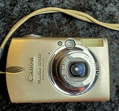 Canon Powershot SD550 - 7.1MP Digital Elph Camera 3x Optical Zoom Silver TESTED