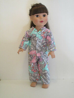 """Unicorn/Pink & Teal/Sparkle Pajamas 18"""" Doll Clothes American Girl"""