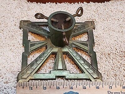 """Antique Cast Iron German Christmas Feather Small Tree Stand  6.5"""" x 6.5"""""""