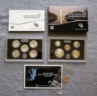 2019-S Silver Proof set 10 Coins + (W) Reverse Proof Lincoln Cent