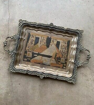Antique Vintage Egyptian Tray Brass Silver Gold Copper Bronze Pharoah Pyramid