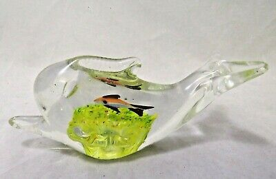 Coral Reef & Fish Dolphin Shape Paperweight  Hand Blown Glass