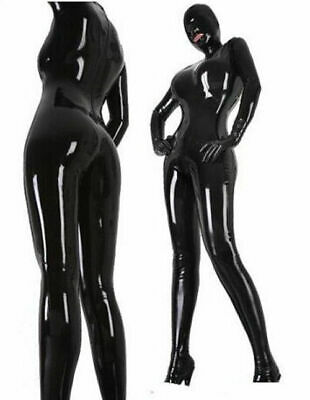 Latex Rubber Schwarz Bodysuit Cosplay 100% Gummi Fashion Sexy Mask Catsuit S-XXL