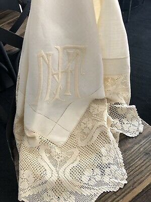 Antique Vintage French Linen Tablecloth Filet Crocheted Lace Border