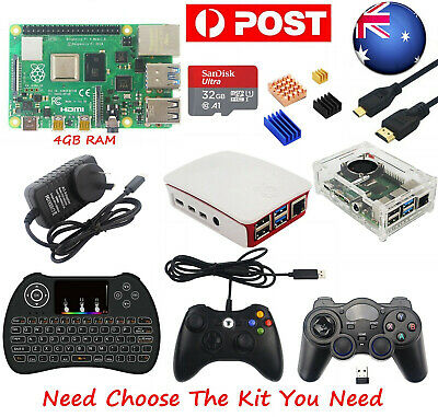 AU Raspberry Pi 4 Model B 4GB RAM Starter/Advanced/Premium Kit HDMI/Case/Keyboad