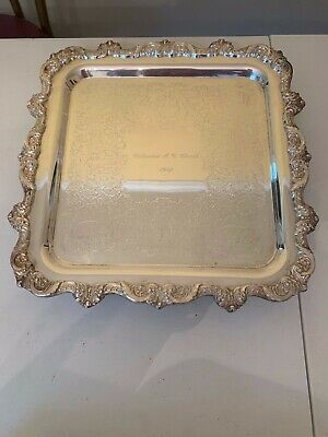 Vintage Towle Silverplate Footed Square Serving Tray Engraved   EUC  C27