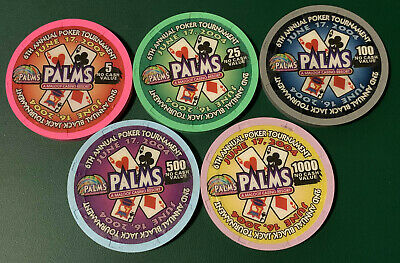 Full Set of 5 2004 CC & GTCC Poker Tournament Casino Chips - Palms Casino LV