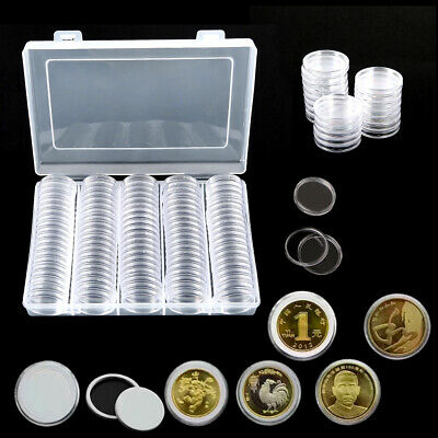 100 Coin Collection Cases Capsules Holder Clear Round Storage Album Book A