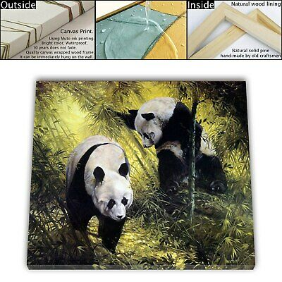 "16""x18"" Panda Pair Animal Paintings HD Canvas prints Framed Home decor Wall art"