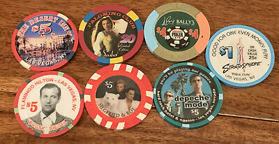 Lot of 7 -  Las Vegas Better Limited Edition Chips  - Nice group with $45 Face !