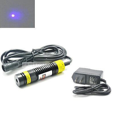 Focusable 405nm 300mW Blue/Violet Laser Dot Module Locator 16x68mm w/ 5V Adapter