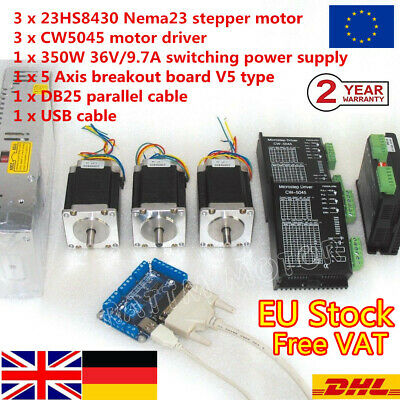 「EU」3 Axis Nema23 L76mm Dual Shaft Stepper Motor 270Oz-in+CW5045 Driver CNC Kit