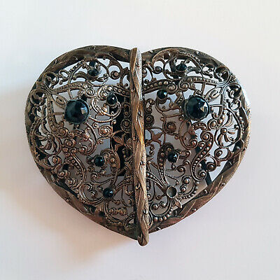 Antique Heart Shaped White Metal Belt Buckle