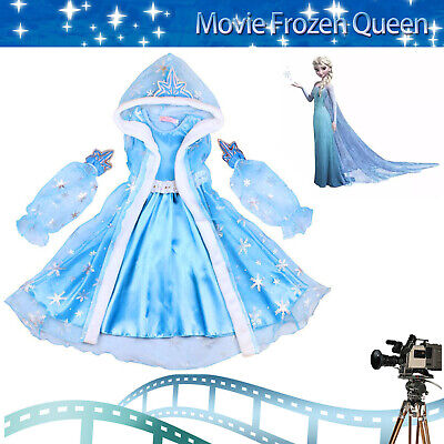 Frozen Princess Elsa Fancy Dress Up Cosplay Party Costume Girls Outfit Christmas