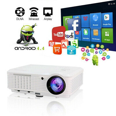 Smart Android WiFi Projector Home Cinema HD 1080p Online Movie App HDMI USB VGA