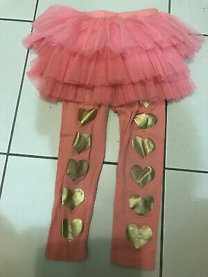 Rock Your Kid Pink Gold Hearts Circus Leggings Size 4 Great Condition