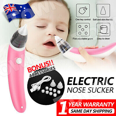 Baby Nasal Aspirator Electric Safe Hygienic Nose Cleaner Snot Sucker Suction AU